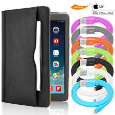 Apple 3ft Tangle-Free Lightning Cable+Leather Smart Case Cover iPad 3/4/Air/Pro