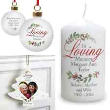 PERSONALISED IN LOVING MEMORY CHRISTMAS REMEMBRANCE TREE BAUBLE OR CANDLE GIFT