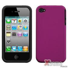 XM-For APPLE iPhone 4/4S/4G Solid Fusion Silicone Case Cover Hot Pink Rubberized