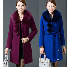 Fashion Women's Wool Blend Jacket Faux Fur Collar Slim Long Coats Trench Outwear