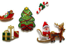 CHRISTMAS Appliques SANTA Rudolph Deliver PRESENTS Iron On Embroidered Set
