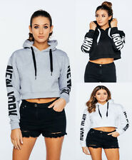 Womens Ladies New York Arm Print Hoodie Pull Over Hoody Sweatshirt Crop Top