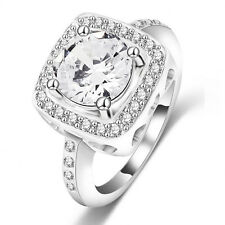 18k white gold GP Luxury white Swarovski  Crystal engagement  Wedding Ring R048