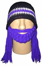 BALTIMORE RAVENS CHILD/ADULT BEARDED BEANIE HAT WITH BRAIDS/DREADLOCKS