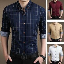 New Mens Casual Shirt Plaid Check Slim Fit Dress Shirts Long Sleeve Men's Tops