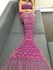 Adult's Kid's Crocheted Mermaid Tail Blanket Cocoon Knit Handmade Quilt Rug