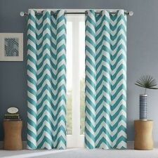 NEW Set 2 Window Curtains Panels Drapes Pair 63 84 in Grommet Teal White Chevron