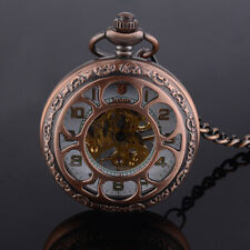 Antique Steampunk Wind-up Roman Dial Skeleton Mechanical Pocket Watch Gift Retro