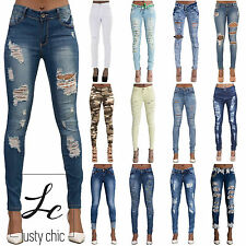 NEW Ladies Faded Ripped Knee Skinny Jeans Womens Sexy Slim Fit Denim Sizes 6-14