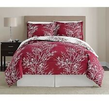 NEW Queen King Bed Dark Wine Red White Nature Trees Xmas 8 pc Comforter Set NWT