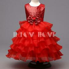 Sequins Flower Girl Kid Dress Bows Wedding Pageant Prom Ball Birthday Baby Gown