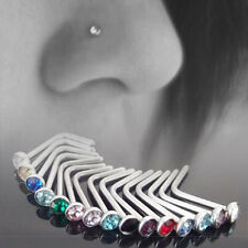 10X Sexy Piercing Jewelry Stainless Steel Multi Color Nose Bone Stud Screw Ring