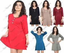 New Womens Short Turn Up Sleeve Front Button Plain Flared Swing Dress Tunic Top