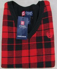 CHAPS by Ralph Lauren Boys V-Neck Sweater Vest Youth 6 & L (14/16) Red Black NEW