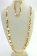 "Cuban Link Chain Set, Gold Plated 24"", 30, 36 Inches long 10mm Wide, 9"" Bracelet"