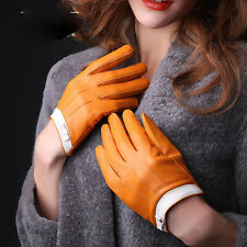 Fashion Womens Genuine Lambskin Leather Gloves Winter Driving Soft Lining Mitten