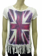 Womens T-Shirt Top British Union Jack Flag Fade Print White Size 8 to 20 A1
