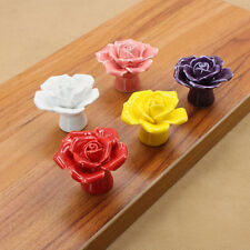 Hot Colorful Knobs New Door Cabinet Cupboard Pull Drawer Ceramic Handles Rose