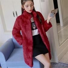 100% Real Genuine  Rabbit Fur Long Jacket Coat Winter Ladies Vintage Fur Outwear