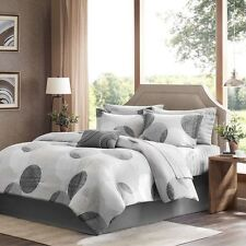 NEW Twin Full Queen Cal King Bed Gray Polka Dots 9 pc Comforter Sheets Set NWT
