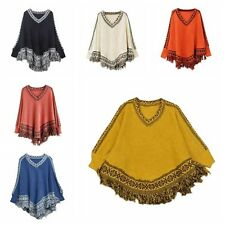 Women V-Neck Batwing Cape Tassels Fringe Knit Tops Poncho Shawl Sweater Outwear