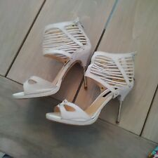 River Island Leather White Heeled Sandals Size 5