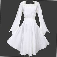 White Medieval Gothic Punk Gypsy Long Top - M (8-10) XL (12-14) - Aussie Seller
