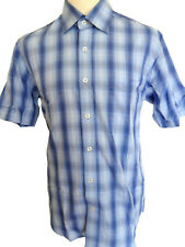 PETERWERTH Men's Short Sleeve Check Cotton Shirt Blue Sizes: 3-L,4-XL