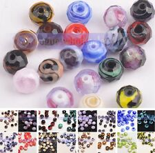 Lots 20x 10mm Rondelle Faceted Lampwork Glass Findings Loose Spacer Beads Charms