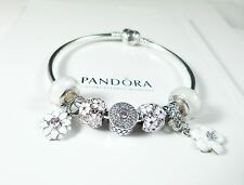 Pandora Authentic Heart Bangle with White CZ Flower Charms & Double Pave beads