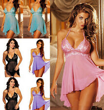 New Lace Dress 1 Set Hot Sleepwear Babydoll G String Lingerie Nightwear Women
