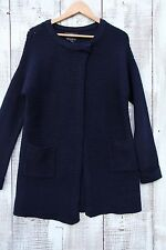 TAHARI Blue Black MEDIUM Merino Wool Knit Sweater Jacket Coat Heavy Cardigan NWT