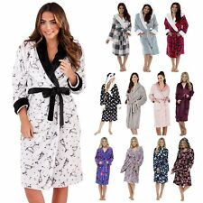 Womens Full Length Luxury Flannel Fleece Dressing Gown Bath Robe Housecoat Size