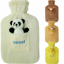 LARGE RUBBER HOT WATER BOTTLE WITH WARM FLEECE FUR ANIMAL COVER 2 LITRE NEW