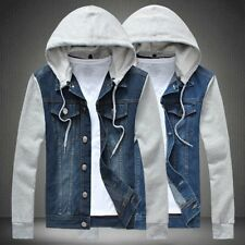 Fashion New Men's Classic Denim Hooded Jean Jacket Hoody Coat Detachable Cap E