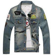 New Men's Fashion Cotton Jean Retro Denim Jacket Coat Casual Outwear Blue Jacket