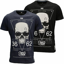 Crosshatch Mens Designer Branded Triangle Skull T-Shirt, Navy/Black, BNWT