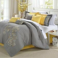 NEW Queen King Bed 8pc Gray Grey Yellow Floral Comforter Pillows Set Elegant NWT