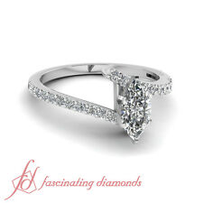1 Ct Marquise Cut Diamond Open Zee Shaped Pave Set Engagement Ring SI2-G Color