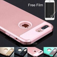 For iPhone 7/7 plus Silicone Rubber Hard Shockproof Hybrid Cover Case Skin +Film
