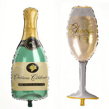 1X Champagne Bottle Glass Foil Balloons Happy Birthday & Wedding Party Decor