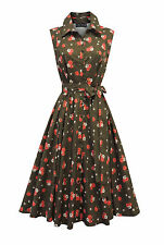 New Ladies Wartime 1940's Style Green Pink Ditsy Floral Shirt Tea Dress