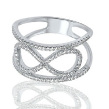 Infinity Celtic Round CZ Bali Fashion Genuine Sterling Silver Ring Size 5 - 10