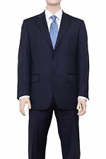 Classic Fit Navy Blue Pinstriped Two Button Super 150's Wool Suit Made In Italy