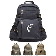 Jumping Bass Fish Army Sport Heavyweight Canvas Backpack Bag