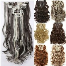 New Real Full Head Clip In Hair Extensions Ombre Color 8pcs/set as Human Hair k9