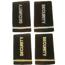 Shoulder Boards Epaulets Black With Security Embroidered In Silver Or Gold
