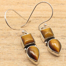 925 Silver Plated TIGER'S EYE & Other Jewel Variation 2 Stone ART Earrings