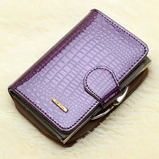 Women's Genuine Patent Leather Short Wallet Coin ID Card Holder Purse Billfold