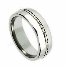 Men's 8mm Titanium Wedding Band Engagement Ring Grooved Braided Silver Inlay